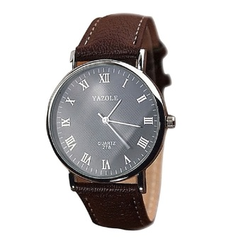Faux Leather Water Proof Quartz Analog Watch Wrist Watch forCouples Lovers Black Dial with Brown Strap Male Style Big Dial Price Philippines