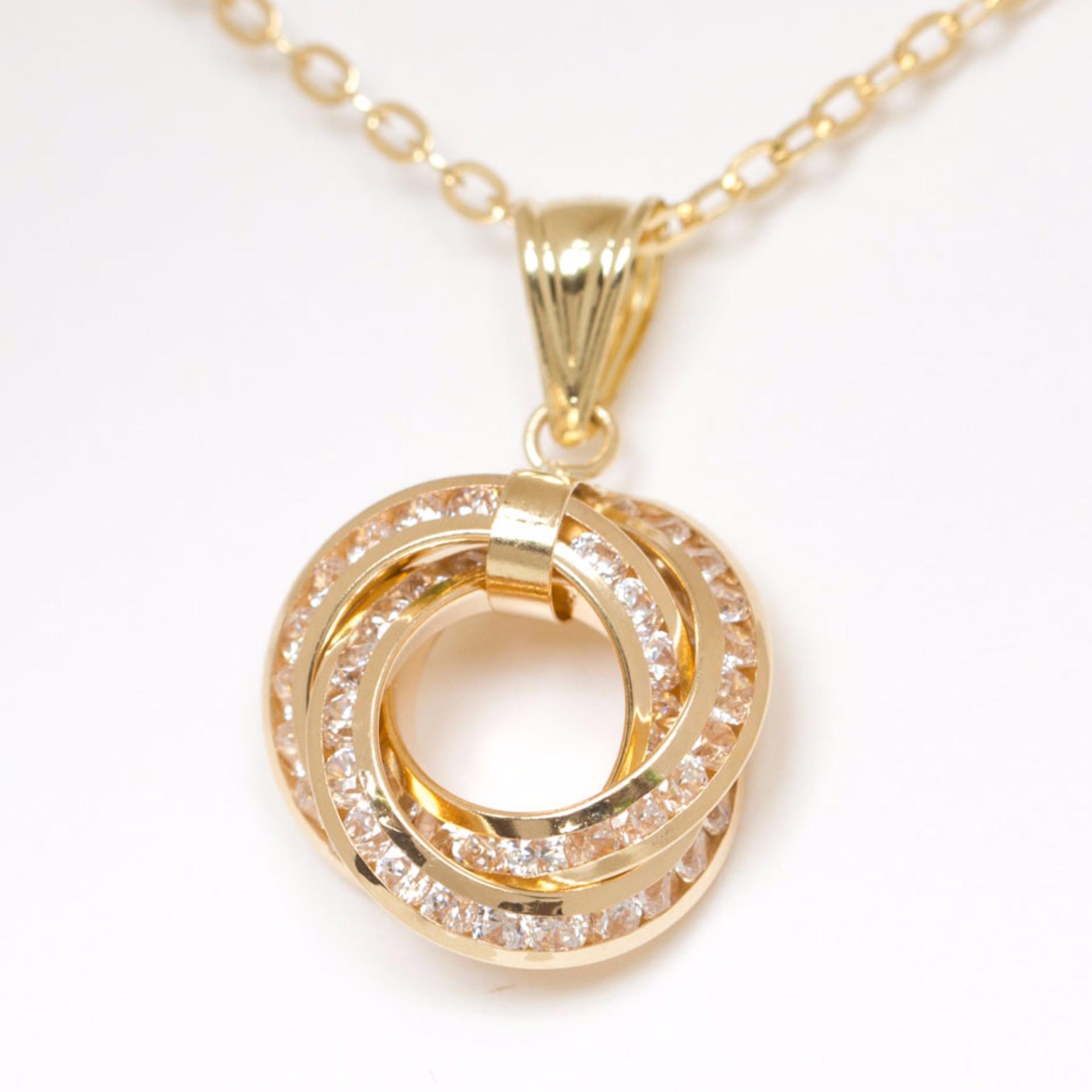 Fine carat by athena co 18 karat gold three interlocking 18 karat gold three interlocking infinity circle pendant necklace gold lazada ph aloadofball Images