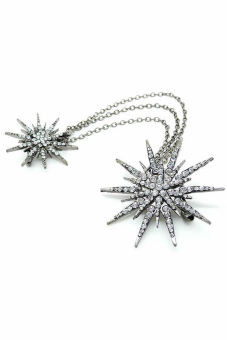 Flower Silver Full Crystal Flower Chain Brooch Pin Wedding Lady Christmas Gift (Intl) - picture 2