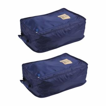 Foldable Travel Shoe Organizer Set of 2 (Navy Blue)