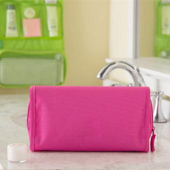 Folded Travel Hanging Cosmetic Organizer Bag (Pink) - 4