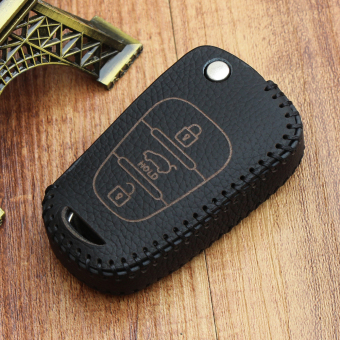For Hyundai KIA Leather Car Remote Key Holder Case Cover 3 Button(Black) - Intl