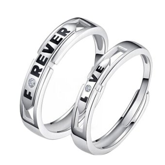 Forever Love Silver Crystal Couple Rings His and Hers Promise Wedding Ring