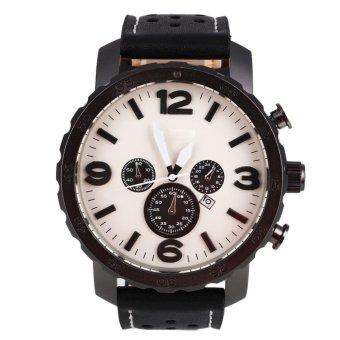 Fossil Luxury Men's Automatic PU Leather Analog Quartz Wrist Watch Gift silvery - intl - 3