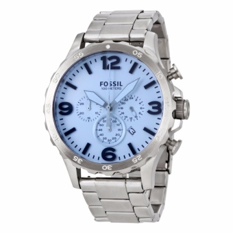Fossil Nate Chronograph Silver Stainless Steel Men's Watch JR1509