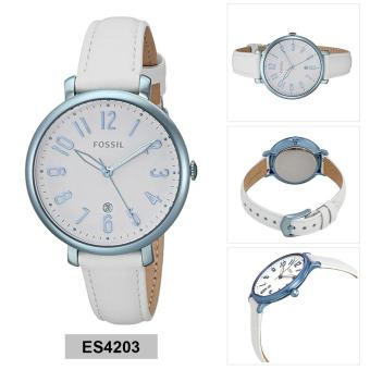Fossil Watch Jacqueline White Stainless-Steel Case Leather Strap Ladies NWT + Warranty ES4203