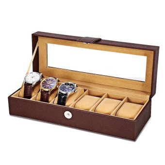 (Free Spot Watch) Luxury Antique 6 Grids Multifunctional Leather Watch Box Jewelry Display Collection Storage Case Watch Organizer Box Holder - intl