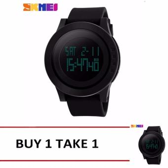 Freebang SKMEI Brand Men Sports Watches Mens Fashion Casual LED Digital Watch Relogio Masculino Military Waterproof Wristwatches 1142 - Intl (Black)Buy1 Take1