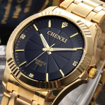 Full Gold Watch Mens Watches Top Brand Luxury Waterproof Quartz-watch Steel Wrist Watches For Men - intl