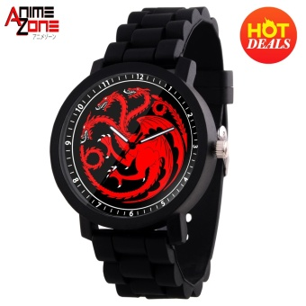 GAME OF THRONES House Targaryen Casual Rubber Strap Watch (Black)