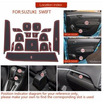 Gate slot pad For SUZUKI swift SPORT swift 1.2 Accessories,3DRubber Car Mat 16pcs RED - intl - 5