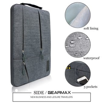 Gearmax(TM) Travellers Multi-functional Nylon Water Resistant withSide Pockets Laptop Handbag for 13.3 Inch Macbook Air Pro /Notebook / Surface / Dell Sleeve Case Cover Bag (13.3 Inch,Gray) -Intl - 2