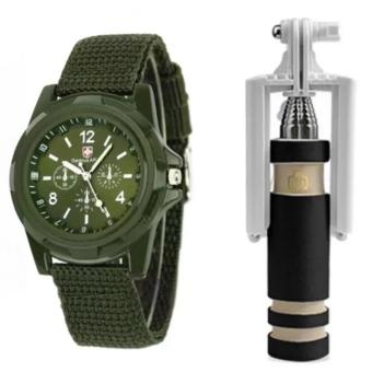 GEMIUS ARMY Military Sport Style Army Men's Green Canvas StrapWatch and with Mini Foldable Monopod (Multicolor)