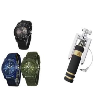 GEMIUS ARMY Military Sport Style Army Men's Green/Blue/Black CanvasStrap Watch Set of 3 With 13.5cm Mini Foldable All-In-One Monopodwith Remote Clicker