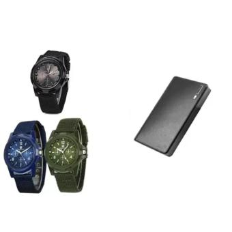 GEMIUS ARMY Military Sport Style Army Men's Green/Blue/Black CanvasStrap Watch Set of 3 With 20000mAh Wallet Style Power Bank