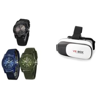 GEMIUS ARMY Military Sport Style Army Men's Green/Blue/Black CanvasStrap Watch Set of 3 With Universal Google Cardboard VR BOX 2Virtual Reality 3D Glasses Game Movie 3D Glass