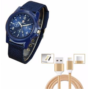 Gemius Army Military Sports Style Army Blue with Cable WireConnector for iPhone and Android 2in1 (Gold)