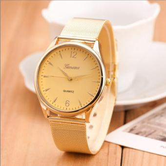 Geneva 02 (GOLD DIAL GOLD BASE)New Famous Brand Silver Casual Geneva Quartz Watch Women Mesh Stainless Steel Dress Women Watches Relogio Feminino Clock
