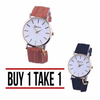 Geneva Aileen Women's Leather Strap Watch Buy 1 Take 1 (black andbrown)