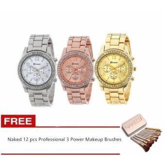Geneva Best Quality Classic Round Ladies Bracelet Strap Watch GoldRoseGold Silver Set of 3 WITH Naked 12 pcs Professional 3 PowerMakeup Brushes