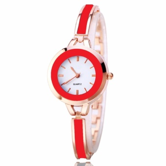Geneva Camille Fashion Ladies Casual Bracelet Quarts Wrist Watch(Red)