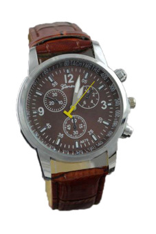 Geneva Casual Leather Strap Wrist Watch Coffee