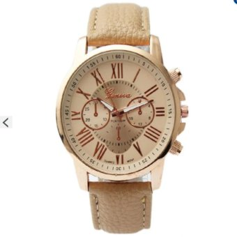 Geneva Celine Beige Leather Wrist Watch