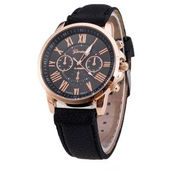 Geneva Celine Black Leather Wrist Watch