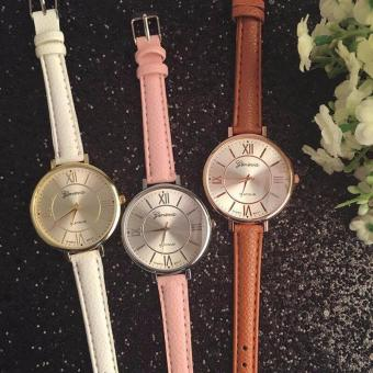 Geneva Christina Classic Roman Numerals Leather Watch (Brown, Pink,White)