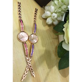 Geneva Claire Fashion Ladies Casual Bracelet Quarts Wrist Watch Buy1 Take 1 (Pink/Violet) - 3