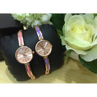 Geneva Claire Fashion Ladies Casual Bracelet Quarts Wrist Watch Buy1 Take 1 (Pink/Violet) - 2