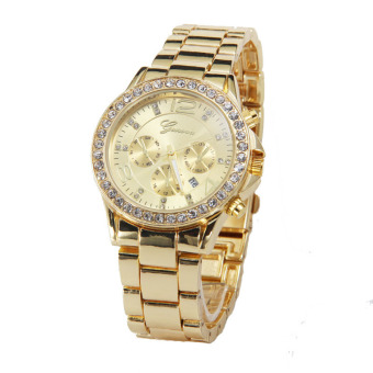 Geneva Date Quartz Wrist Watch Female Luxury Crystal Lady LadiesWatch (Gold)