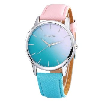 Geneva Fashion Ladies Watch Gradient Color Woman Watch - Pink Blue- intl
