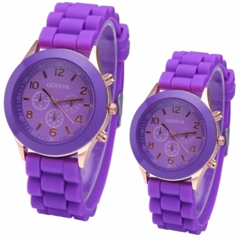 Geneva Fashionable Men'S & Women'S Couple Violet Silicone Strap Watch With Free Heartbeat Stud Stainless Steel Gold Earrings