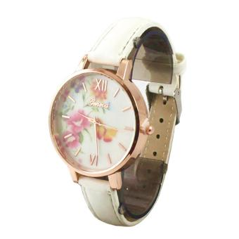 Geneva Floral Leather Watch with White Charm Bracelet and Heartbeat Bangle 002-White - 5