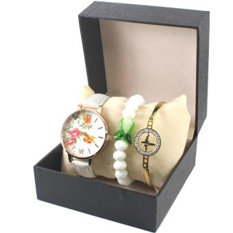 Geneva Floral Leather Watch with White Charm Bracelet and Heartbeat Bangle 002-White - 4