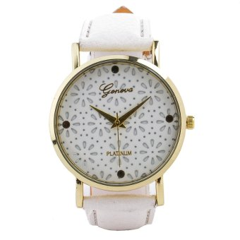 Geneva Flower Dial Faux Leather Strap Watch (White)