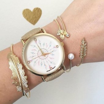 Geneva Full Face Dream Catcher With Fashionable Rhinestones (Beige) (watch only)