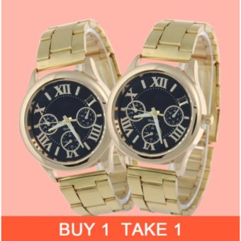 Geneva Gold/Black Roman Numerals Wrist Watch Buy 1 Take 1