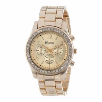 Geneva Lady's Gold Bracelet Strap Watch with Free Mini FoldableAll-In-One Monopod with Remote Clicker (Black) - 2