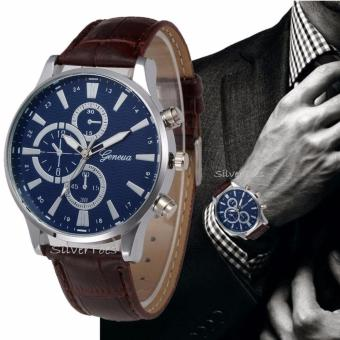 Geneva Men's Mens Silver Stainless Steel Crown and Back, Leather Strap Blue Faced Watch - 2
