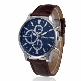 Geneva Men's Mens Silver Stainless Steel Crown and Back, Leather Strap Blue Faced Watch - 3