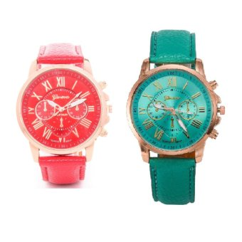 Geneva Roman Numerals Faux Leather Wrist Watch Set of 2 (Red & Green)