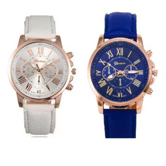 Geneva Roman Numerals Faux Leather Wrist Watch Set of 2 (White & Blue)