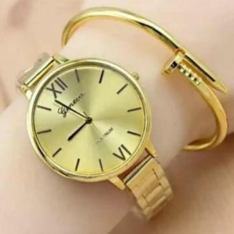 Geneva Roman Numerals Gold Steel-belt Watch (Gold)