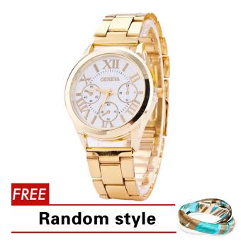 Geneva Roman Numerals Women's Gold Steel-belt Watch SY-3 with Free 2pcs Set Bangle Aloha Random style