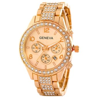 Geneva Shining Rhinestone Women's Gold Steel Belt Watch SY-6