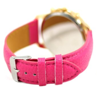 Geneva Sophie Hot Pink Leather Strap Watch - 3