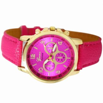 Geneva Sophie Hot Pink Leather Strap Watch - 2