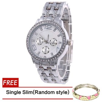 Geneva SY-13 Fashion Women's Silver Stainless Steel Strap WatchWith Free Slim Bangle Hannah